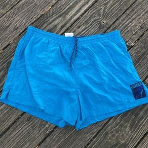Speedo Swim Trunks XL Blue Elastic Waist Pockets